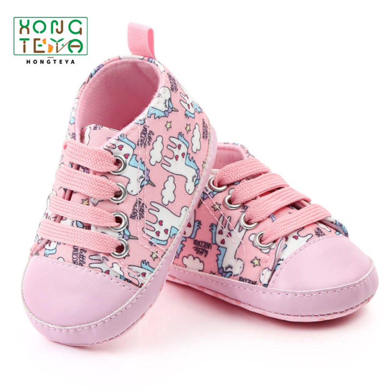 Baby Unicorn Printed Shoes Newborn Toddler Cute Moccasins Prewalker Canvas Sports Casual Shoes Soft Sole Lace Baby Shoes