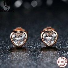 925 Sterling Silver Love Heart Stud Earrings,  Rose Gold Plated & Clear CZ Earring Female Brincos Fashion Jewelry S452 ani 925 sterling silver women stud earring cz earring handmade jewelry bird shape design brincos para as mulheres 925 jewelry