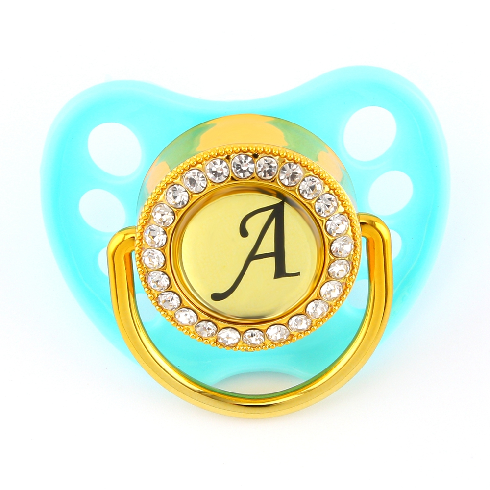 Bling Bling Customized Letter Pacifier For Baby Six Colors Dummy With Name Initials Letter Chupeta 0-18M Baby