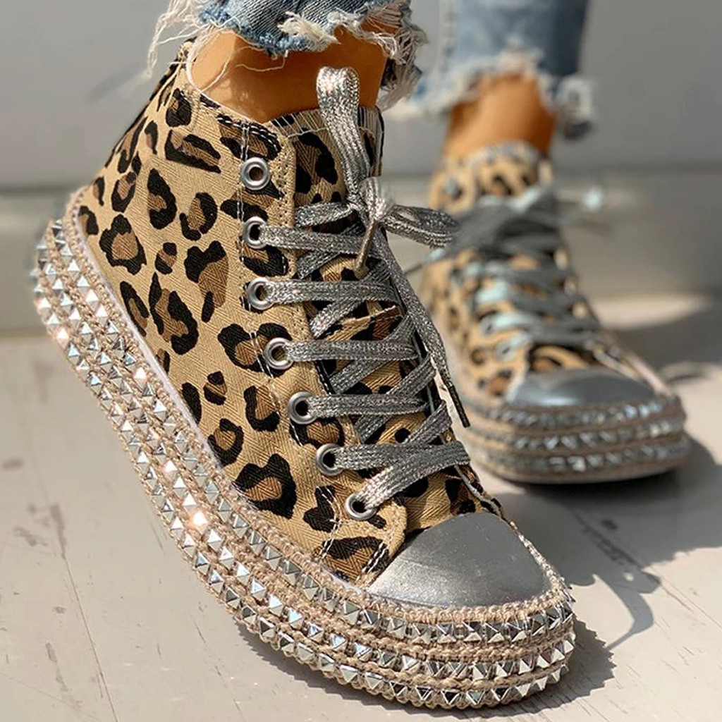 Sexy Leopard High Top Sneakers Women Fashion Bordered Rivet Flats Canvas Shoes Woman Autumn Platform Ladies Casual Shoes#D6