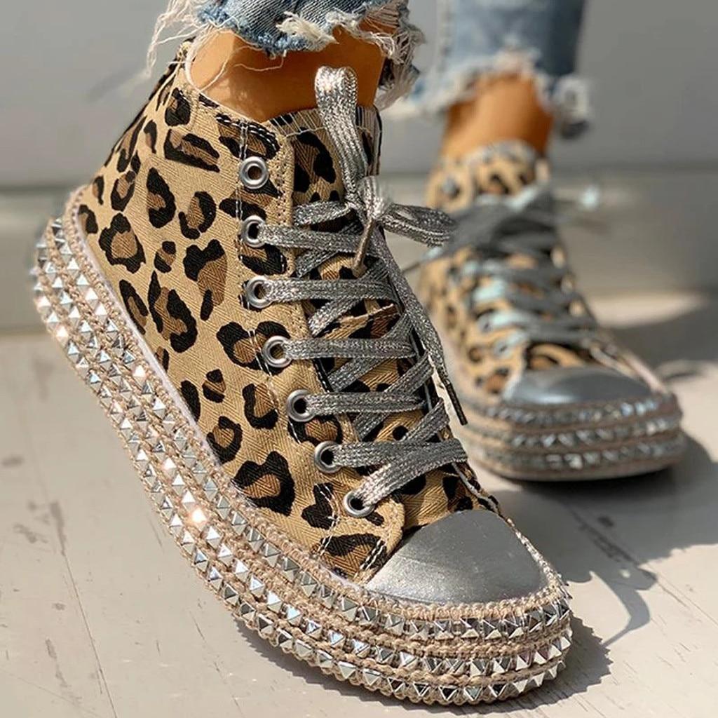 Sexy Leopard High Top Sneakers Women Fashion Bordered Rivet Flats Canvas Shoes Woman Autumn Platform Ladies Casual Shoes#D6