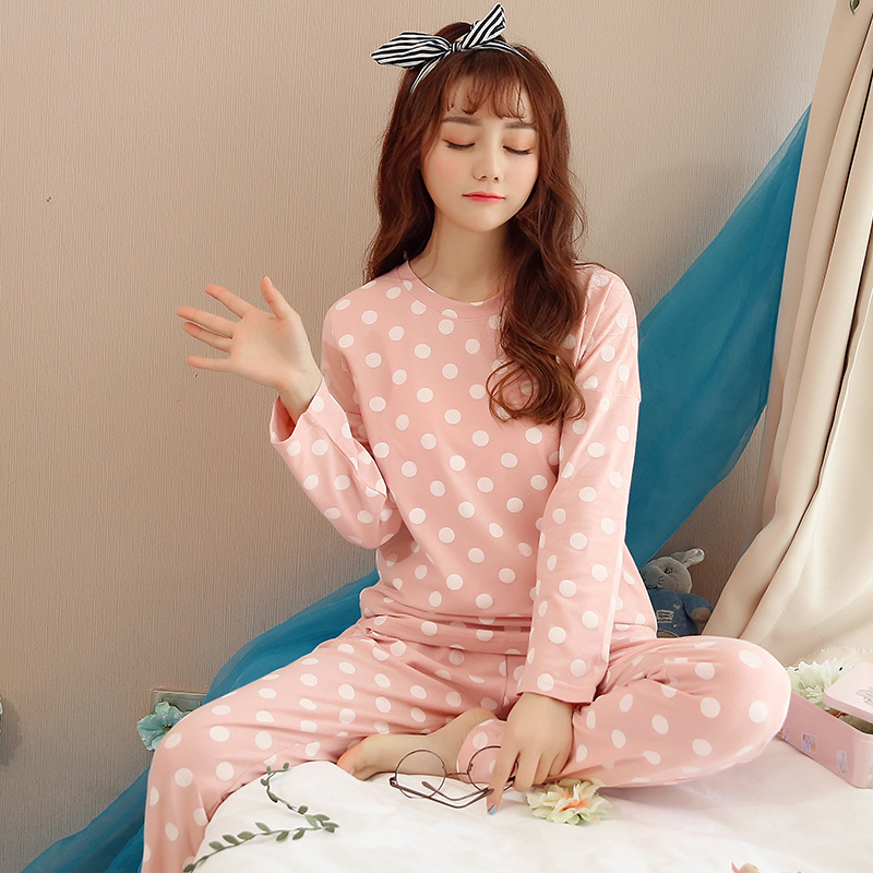 Spring And Autumn Korean-style WOMEN'S Pajamas Dotted Loose-Fit Long Sleeve Pullover Students Fresh Tracksuit Sweet Leisure Suit