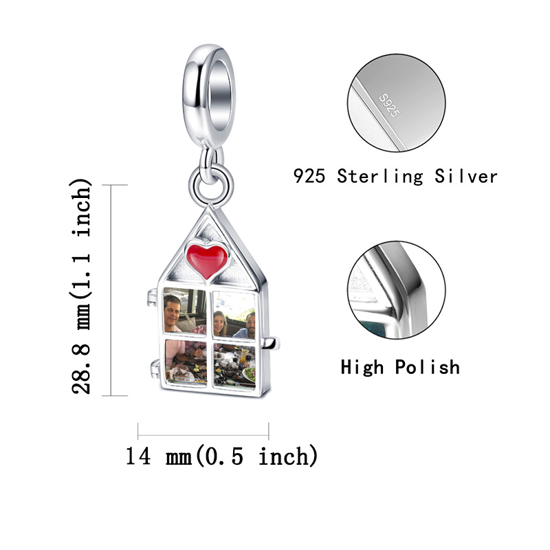 Купить с кэшбэком Strollgirl 925 Sterling Silver authentic  Photo charms beads Fit Pandora bracelet Fine Jewelry for Mother's Day gifts