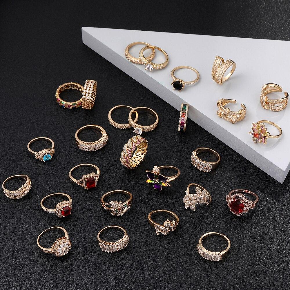Женское позолоченное кольцо с кубическим цирконием, модное очаровательное кольцо, различные стили, свадебные подарки для девушки, ювелирны...
