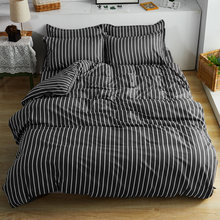 3/4pcs Black white stripes bedding set modern business fashion Good quality duvet cover quilt cover set bed sheet pillow cases(China)