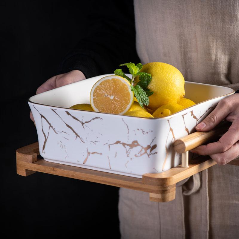 Bol à salade de fruits carré céramique | Motif marbre Europe du nord, noir/blanc décoration de la maison, vaisselle assiette à fruits, Snack WY11605