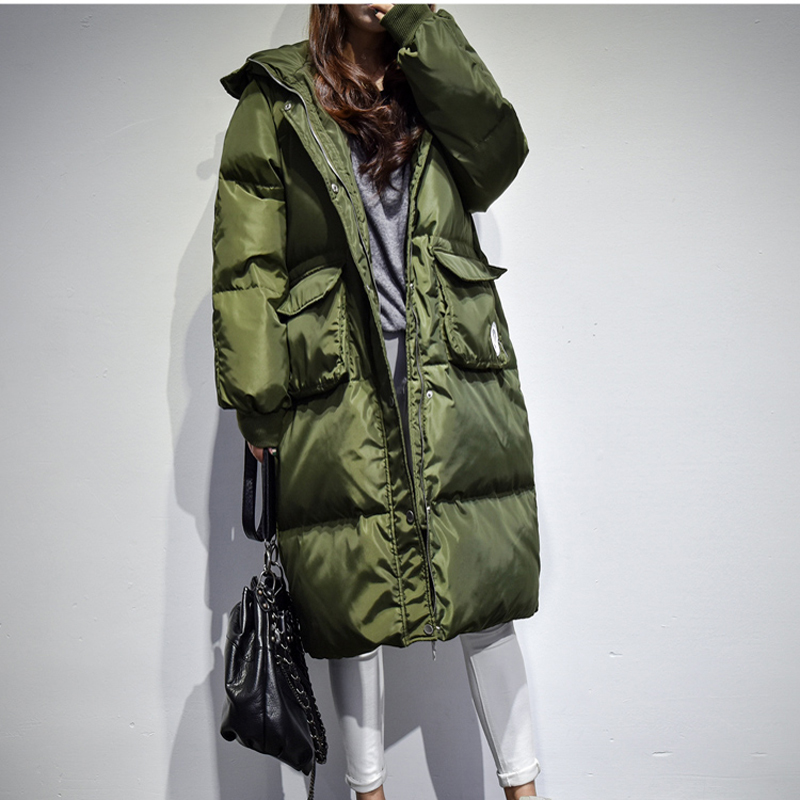 Jackets Winter For Women Parka 2020 Warm White Duck Down Parkas Woman Casual Long Thick Hood Loose Coats Women Plus Size HJ479 S