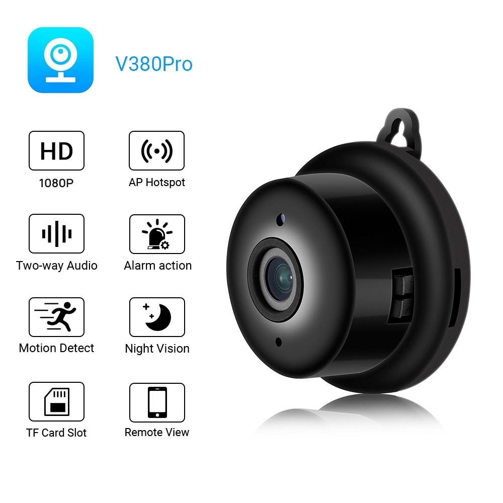 Mini wifi câmera ip hd 1080 p sem fio câmera interior nightvision áudio em dois sentidos detecção de movimento monitor do bebê v380