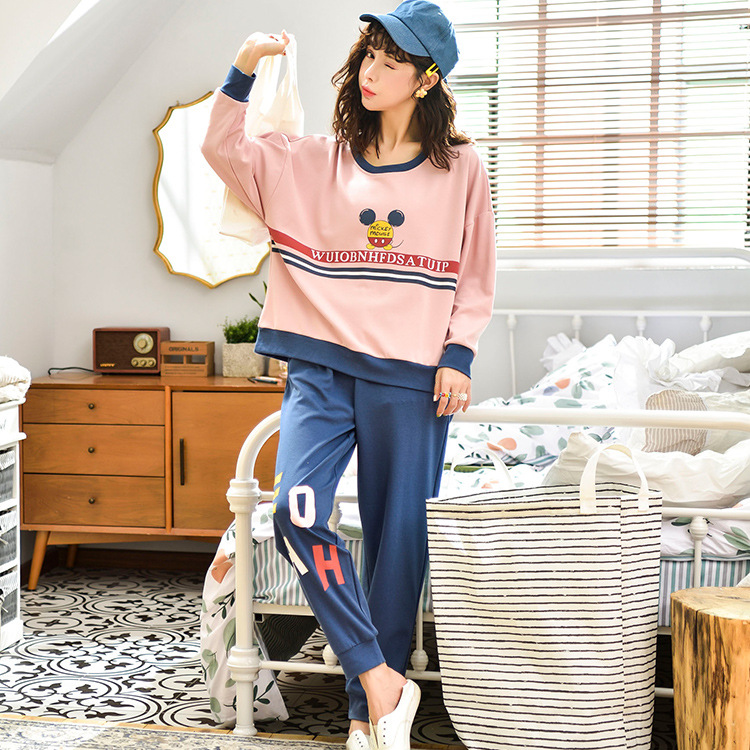 Outer Wear Crew Neck Printed Cute WOMEN'S Dress Spring And Autumn Trousers Long Sleeve Pajamas Ladies Home Leisure Suit