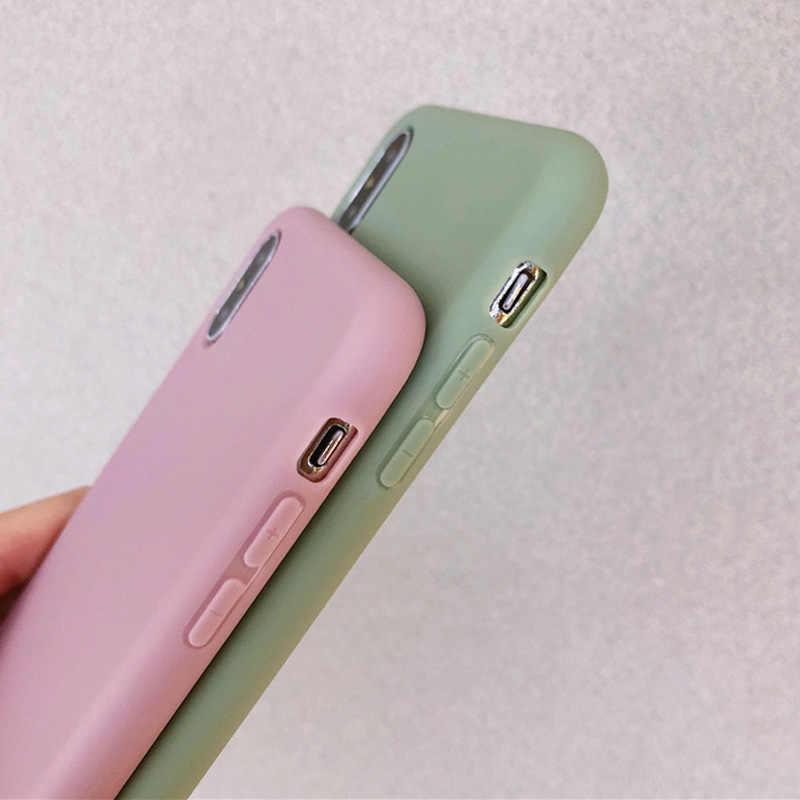 Mode Snoep Kleur Telefoon Case voor IPhone XS Max XR XS X 8 Plus Eenvoudige Plain Siliconen Cover voor IPhone 6 6S 7 Plus Zachte TPU Case