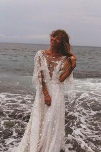 Image 3 - חוף חתונת שמלת 2020 מבריק כוכבים אונליין Boho כלה שמלה ללא משענת קיץ כלה שמלות