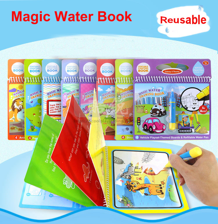 Kids Reusable Coolplay Magic Water Drawing Book Doodle Painting Drawing Board Recycle Coloring Books Toys For Children