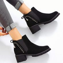 Women's Retro Rivets Ankle Boots Fashion Winter Bow Knot Flock Ankle Elastic Slip On Platfroms Boots Vintage Casual Martin Boots(China)