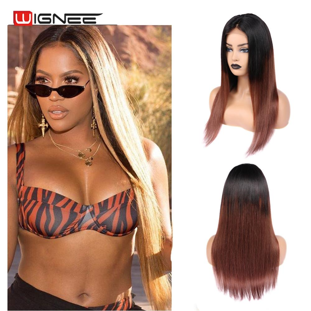 Wignee 4x4 Lace Closure Straight Hair Human Wigs For Black Women Remy Brazilian Ombre Brown 33# Middle Part Swiss Lace Cheap Wig