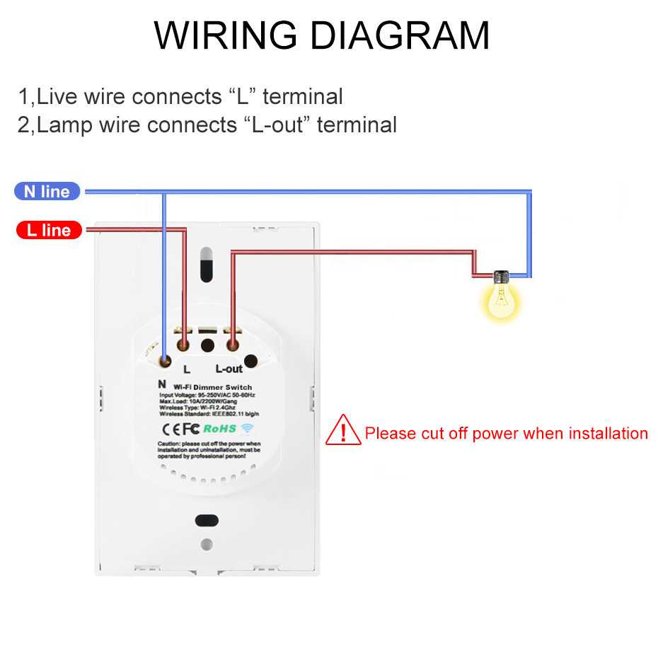 1 Gang 1 Way Wifi Dimmer Switch Smart Touch Switch Wireless Remoter Control Dimmable Switch Work With Amazon Alexa Google Home Dimmers Aliexpress