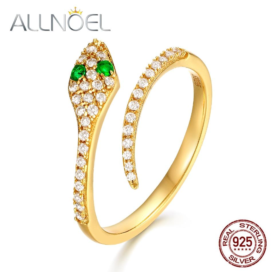 ALLNOEL 2019 New Solid 925 Sterling Silver Ring For Women Green Zircon Diamond Snake Rings Open Design Luxury Gold Fine Jewelry
