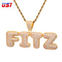 US7 пользовательское имя Iced Out Bubble буквы ожерелья с подвесками для мужчин Подвески Циркон хип хоп ювелирные изделия с золотым серебром теннис...