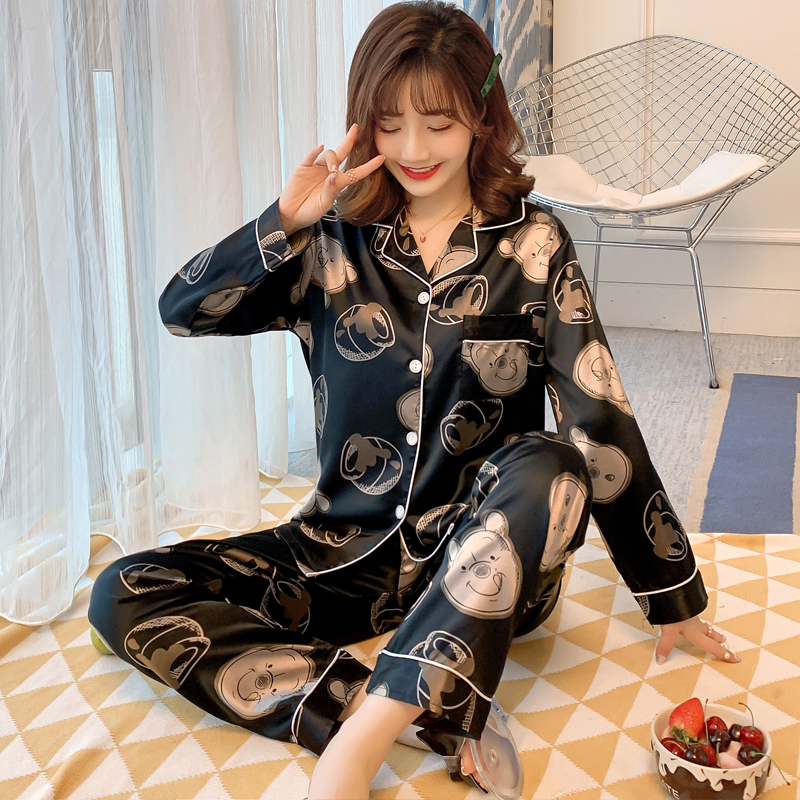 Ins Hot Sale Silk Pajamas For Women Soft Comfortable Pyjamas For Girl Casual Comfortable Night Sleepwear Home Suits