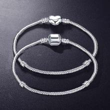 95% OFF! DIY Charms Bracelet Gift For Women Original 925 Sterling Silver Fit Beads Bracelets Fine Jewelry Size 17-21cm ZSB005191 недорого
