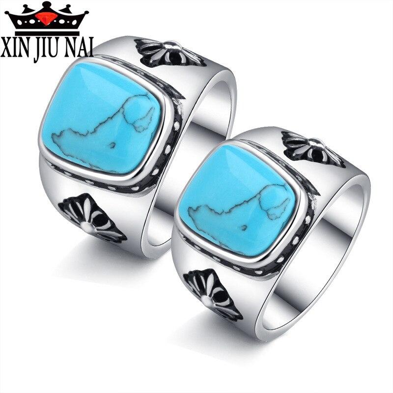 Кольцо для женщин квадратное большое синее натуральное бирюзовое мозаичное кольцо в богемном стиле ретро микро-инкрустированное кольцо ве...