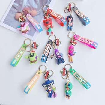 цена на Brawl Stars game Anime Figure cartoon stars heroes Keychain Cute Cartoon PVC KeyChain collection action toys figura child gifts