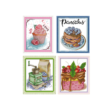 Joy Sunday Cake And Coffee Dessert Cross Stitch Printed DMC 11CT 14CT  Child Handmade DIY Embroidery Set for Home Decor Gift