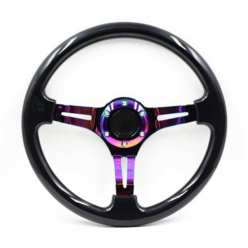 PQZATX Chrome 350Mm 14 Pouces Abdos Volant de Course 45 Mm Profond Plat Voiture Volant Universel Violet