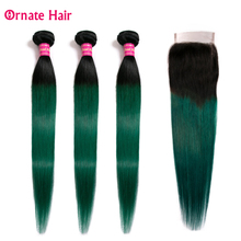 Ombre Colored Human Hair Bundles With Closure Brazilian Straight Ornate Non Remy T1b/green/blue