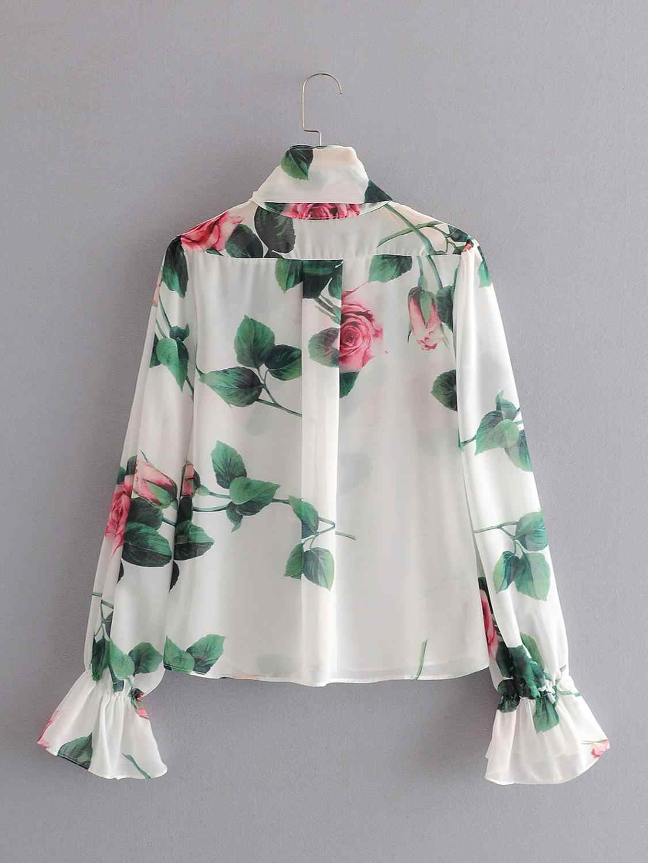 Rosediary Nhà Thiết Kế Hoa Hồng Hoa Thường Áo Voan Thanh Lịch Nơ Cổ Áo Xem Qua Blusas Femme Áo Sơ Mi Thẩm Mỹ Chemises