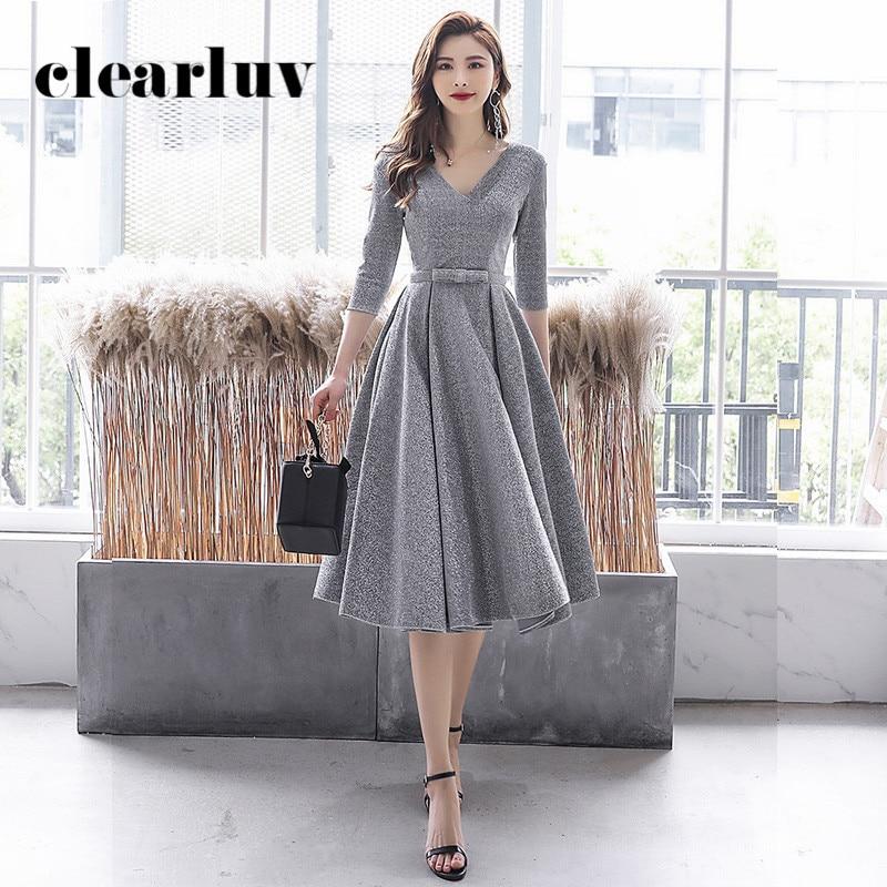 Silver Gray Prom Dress DR309 Shiny Sequin Vestidos De Fiesta V-Neck Three Quarter Sleeve Formal Gowns A-Line Women Party Dress