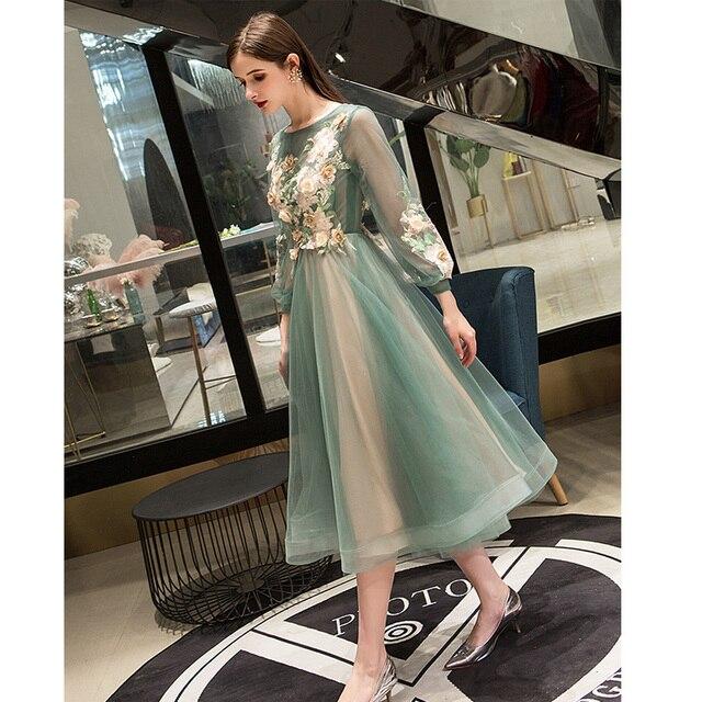 It's Yiiya Evening Dress 2019 Elegant O-Neck Appliques Plus Size Robe De Soiree Applieus Women Party Night Dresses E773 2