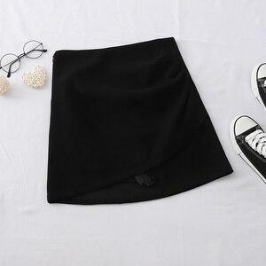 Image 3 - HELIAR jednolite, nieregularne spódnica Hem A Line Micro spódnica na plażę styl Preppy spódnica z plisowaną spódnica z wysokim stanem dla kobiet 2020 lato