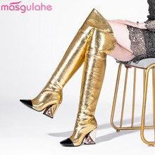Masgulahe/Новое поступление; коллекция года; осенние пикантные Женские Сапоги выше колена; обувь без застежки; ботинки из натуральной кожи с острым носком