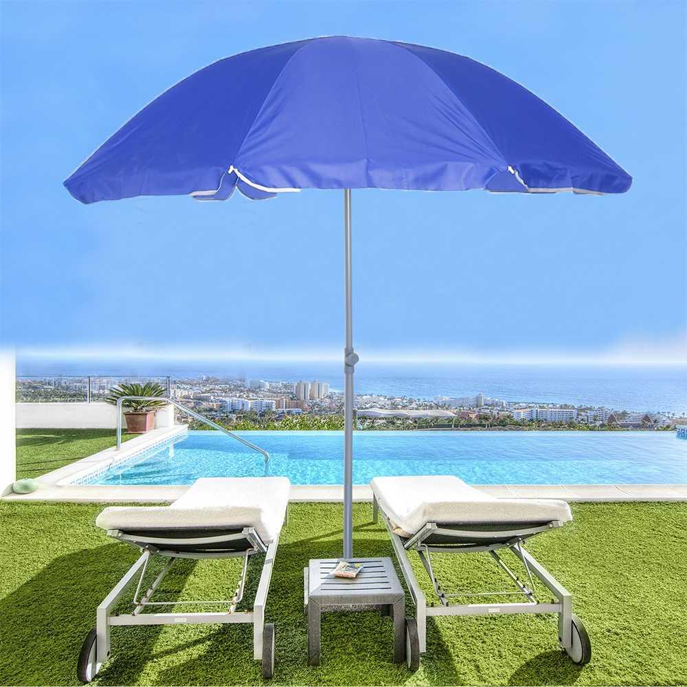1.8m Outdoor Beach Umbrella Adjustable Steel Poles Garden Patio Sunshade Parasol Round Shade Umbrella For Pool Camping Picnic