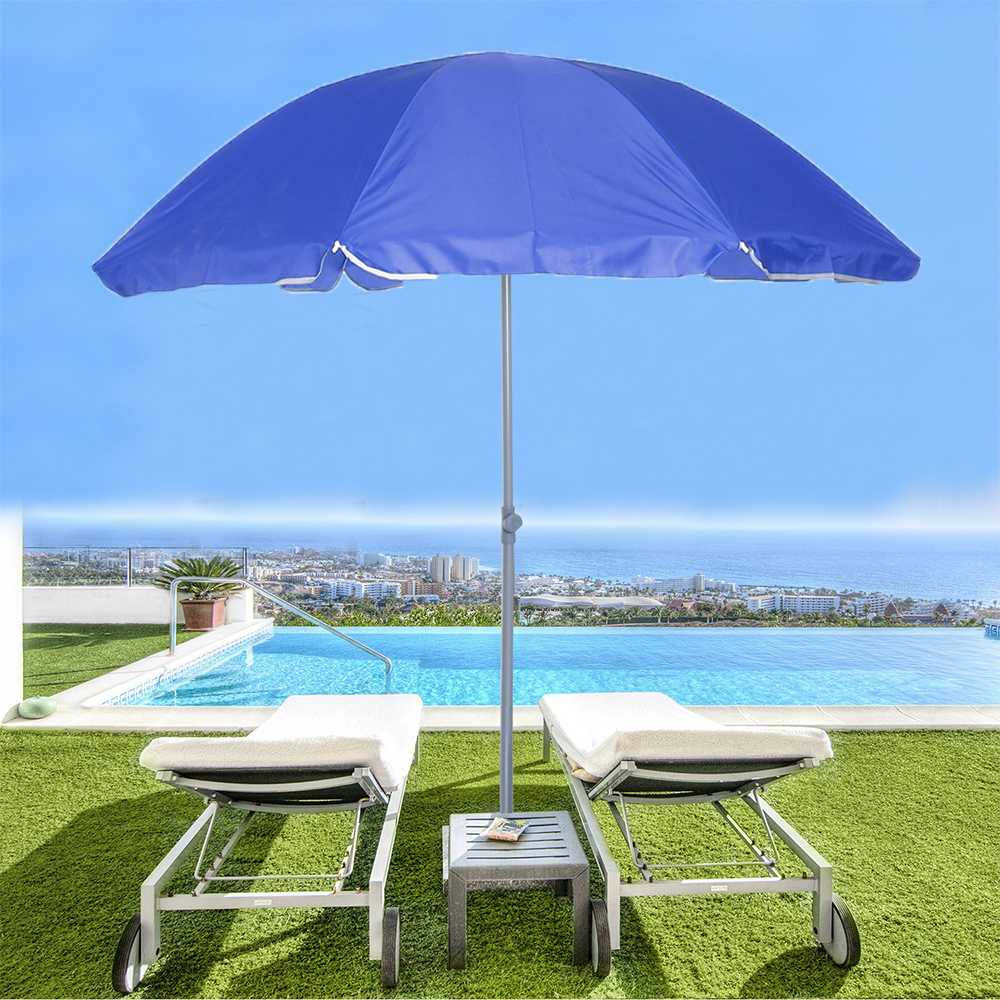 1.8m Outdoor Beach Umbrella Adjustable Steel Poles Garden Patio Sunshade Parasol Round Shade Umbrella For Pool Camping Picnic