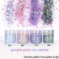 Пурпурный голографический эффект набор блесков для ногтей для УФ-гель-лака тонкая фотография акриловый блеск для нейл-арта маникюрная пыль...