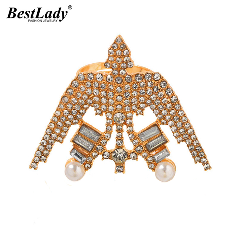 Best lady Shiny Glass Rhinestone Airplane Shaped Open Rings for Women Wedding Jewelry Adjustable Simulated Pearl Party Rings New image