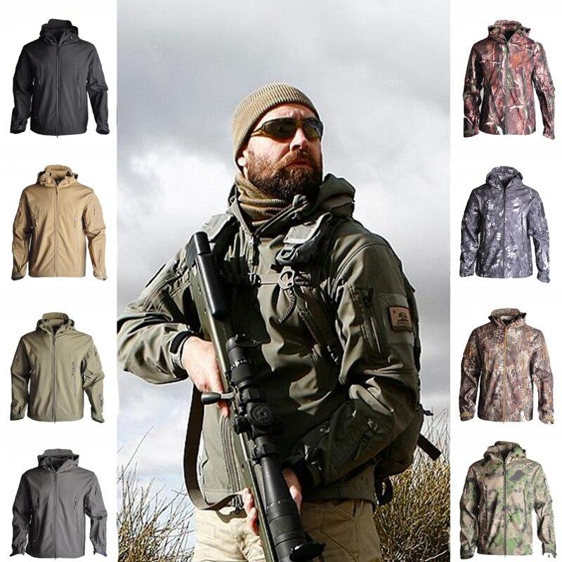 Tactical TAD Softshell Jacket Hooded Waterproof Men Fleece Jacket Hiking Camping Windbreaker Hunting Camouflage Jacket