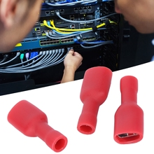1000Pcs Wire Terminal FDFD1-250 PVC Full Insulation Female Terminal Wire Connector Terminal Kit Red 1 pair car battery terminal insulation clamp clips protection protector sleeve covers pvc 62 30 25mm black red