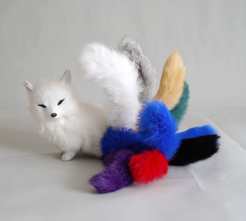 creative simulation nine-tails fox model plastic&fur real life colourful tail fox doll gift about 30x9x14cm