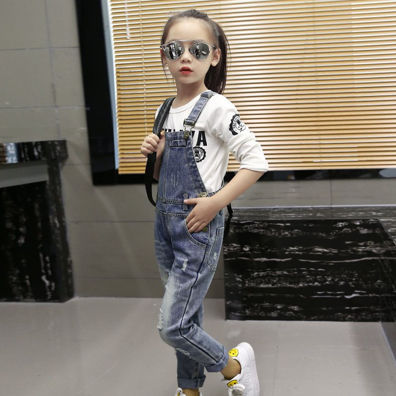 2019 Autumn Children 39 s Clothing Ripped Jeans Baby Girl Leisure Denim Overalls 4 6 8 10 12 14 16 Years in Jeans from Mother amp Kids