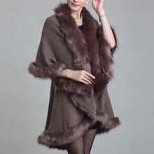 Женское зимнее пончо накидка из искусственного меха пальто с