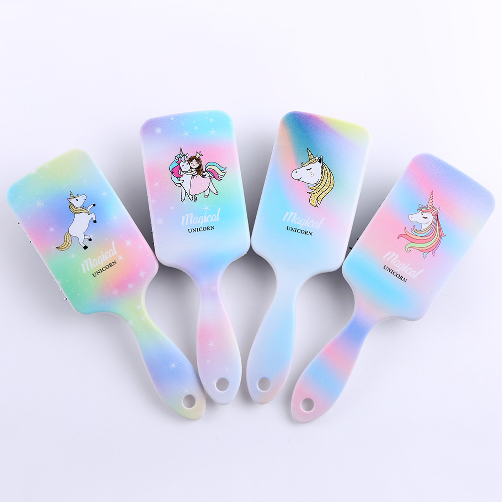 New Children Cartoon Unicorn Animal Anti-static Hair Brush Massage Comb Shower Wet Detangle Hair Brush Salon Hair Styling Tools