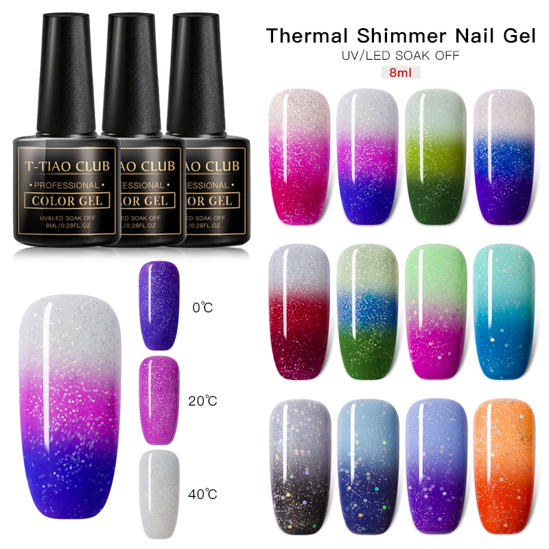 T-TIAO CLUB Rainbow Thermal Nail Gel Polish Temperature Color Changing Holographic Glitter Temperature Soak Off UV Gel Varnish
