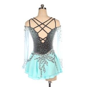Image 2 - Nasinaya איור החלקה על שמלה מותאם אישית תחרות החלקה על קרח חצאית לילדה נשים ילדים התעמלות ביצועים אפור שיפוע