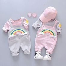 New Toddler Sweet Rainbow Print Long-sleeved Set Autumn Top Pants Two-piece Childrens 0-4T Cute Baby Girl Boy Clothes