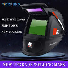 WORKBRO Solar Automatic Darkening Welding Helmet Welding Mask Head-Mounted Protective Helmet Goggles with Gloves and Lenses