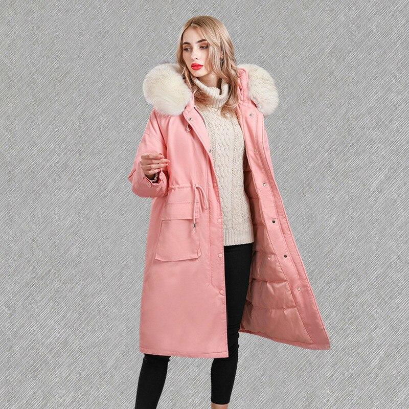 Coat Winter Women Large Racoon Fur Collar Down Jacket Woman Hooded Korean Loose Pink Jackets Parka Chaqueta Mujer KJ604 S