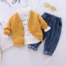 Kid Baby Boys Sweater Coat Jeans Clothes Coat Shirt Clothing Sets 3PCS Toddler Baby Set Boys 1 2 3 4 Years cheap Kabeier Fashion Full Single Breasted Paisley Turn-down Collar Mohuan1148 REGULAR Children COTTON spandex Fits true to size take your normal size