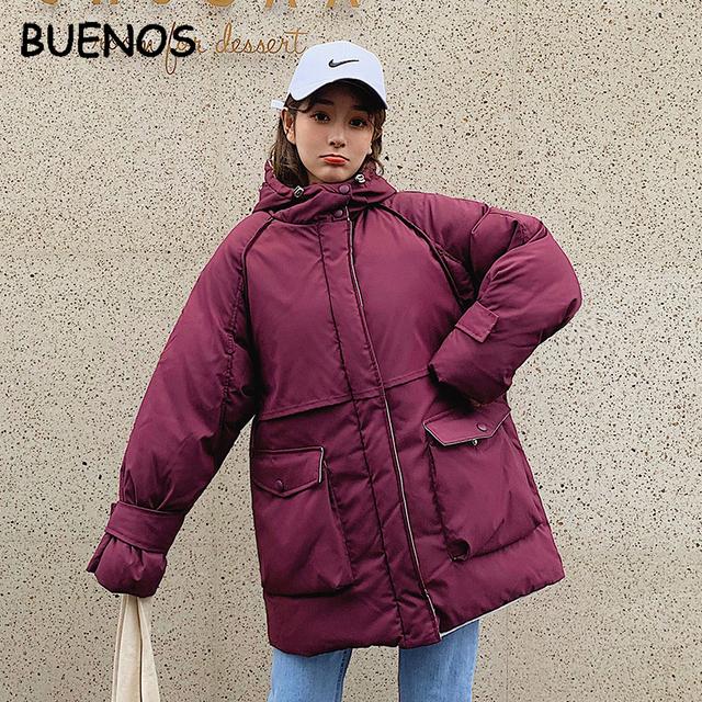 BUENOS Cotton clothing female long  2019 new Korean students loose winter jacket women Korea thick warm parka plus size coat